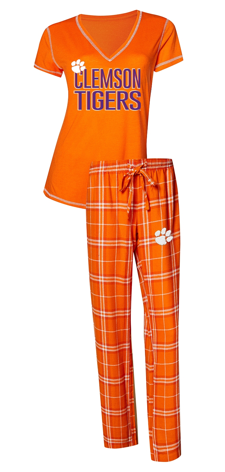 "Clemson Tigers NCAA ""Super Duo"" Women's T-shirt & Flannel Pants Sleep Set"